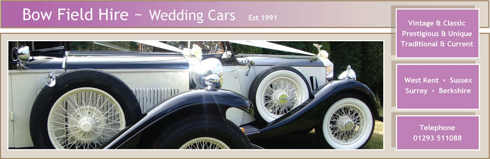 Bow Field Hire - the largest unique collection of wedding cars in Sussex